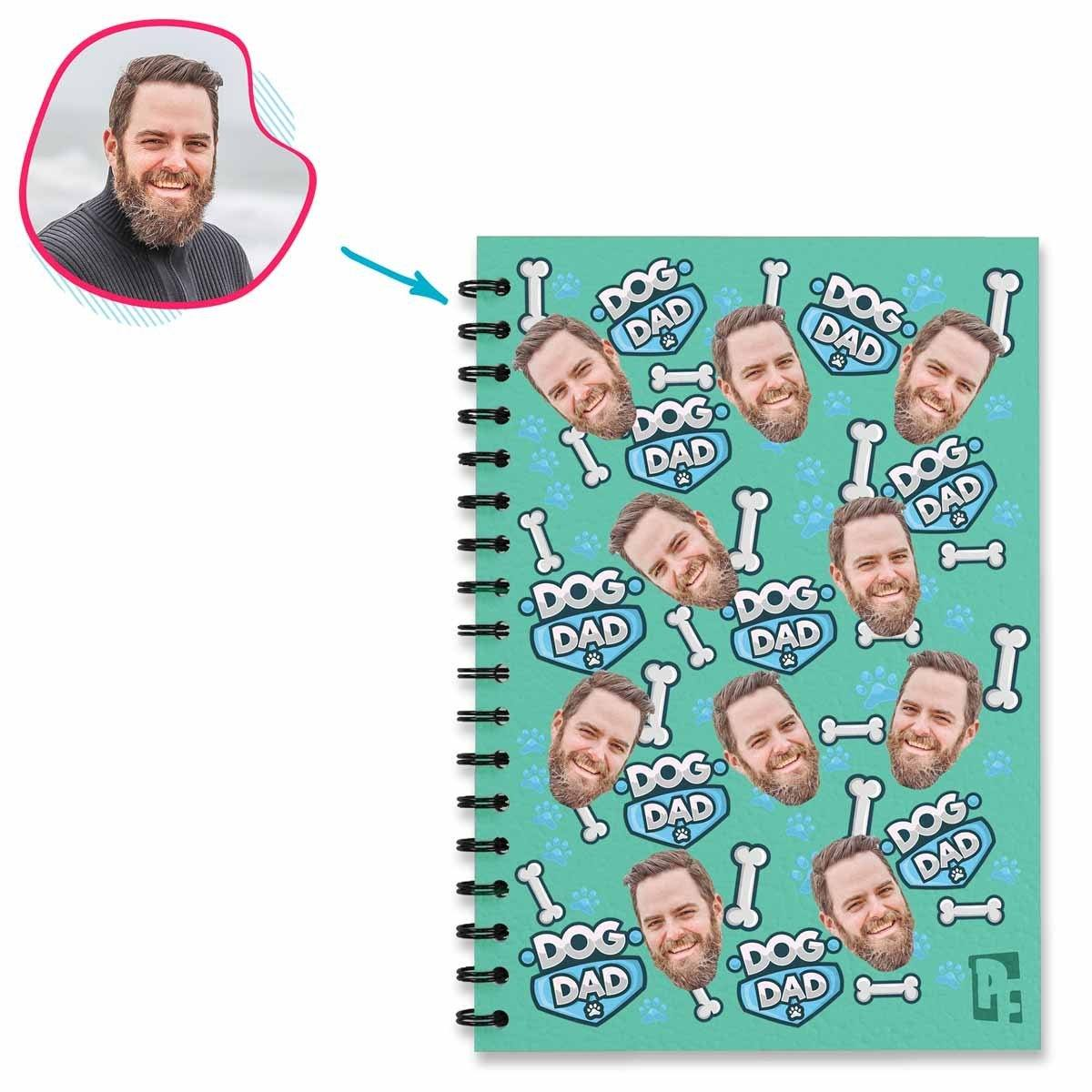 mint Dog Dad Notebook personalized with photo of face printed on them