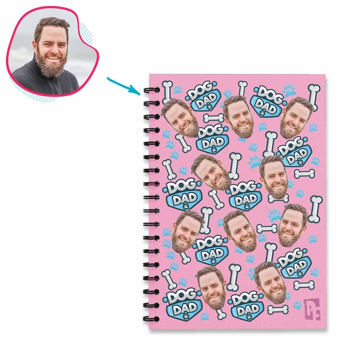 pink Dog Dad Notebook personalized with photo of face printed on them