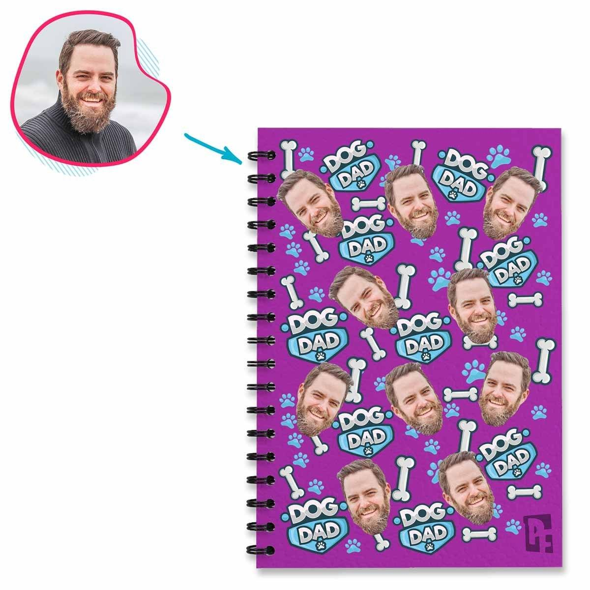 purple Dog Dad Notebook personalized with photo of face printed on them