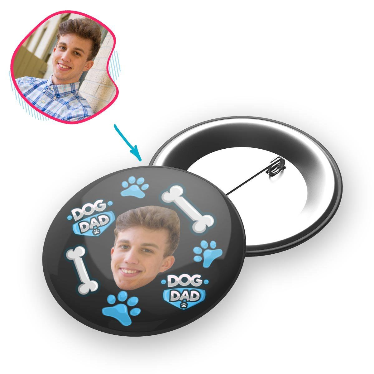 dark Dog Dad pin personalized with photo of face printed on it