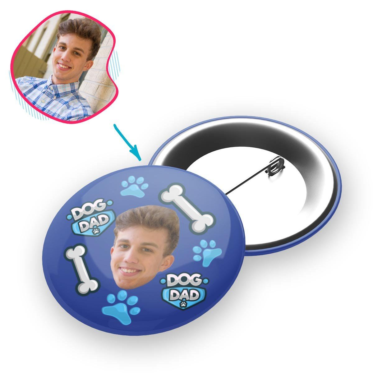 darkblue Dog Dad pin personalized with photo of face printed on it