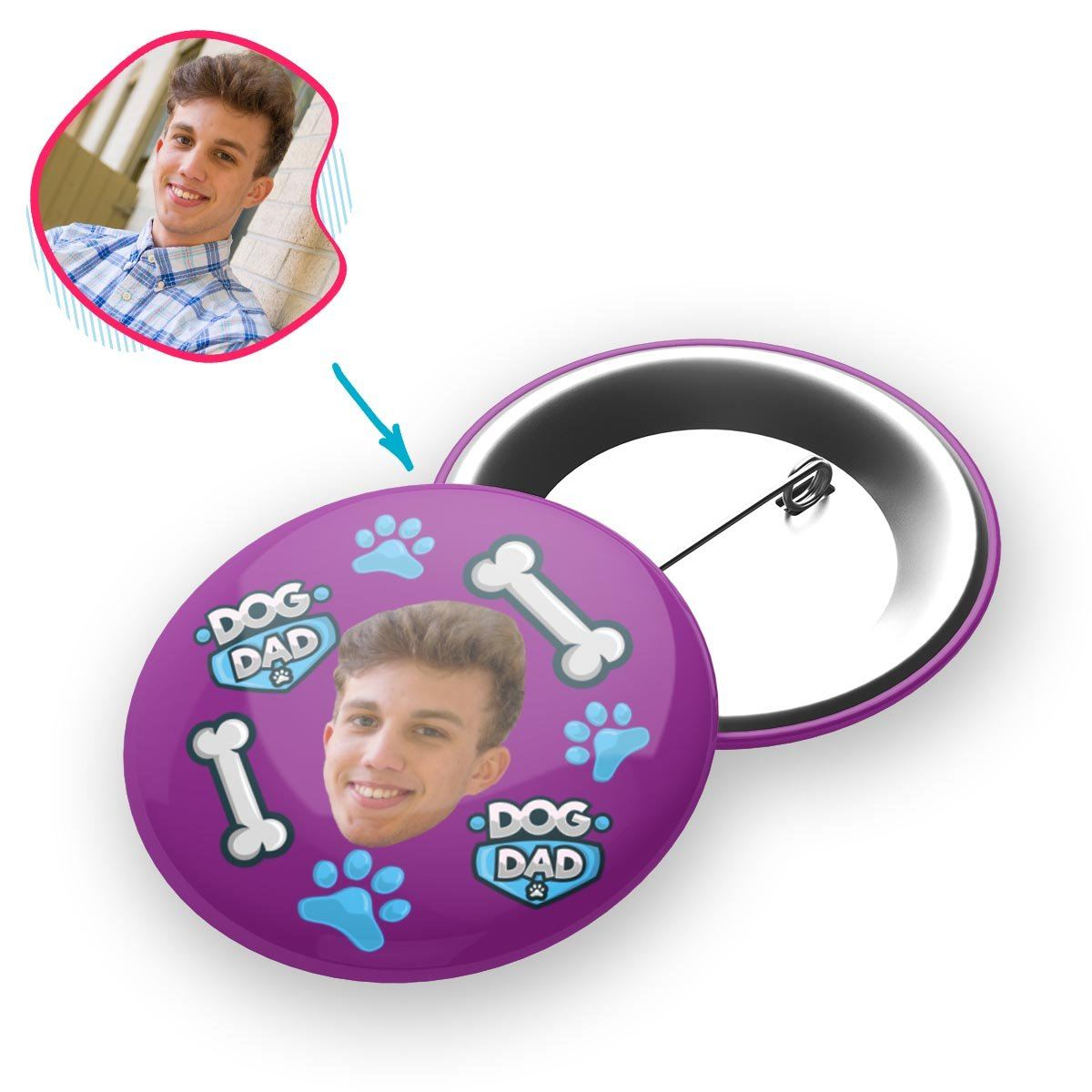 purple Dog Dad pin personalized with photo of face printed on it
