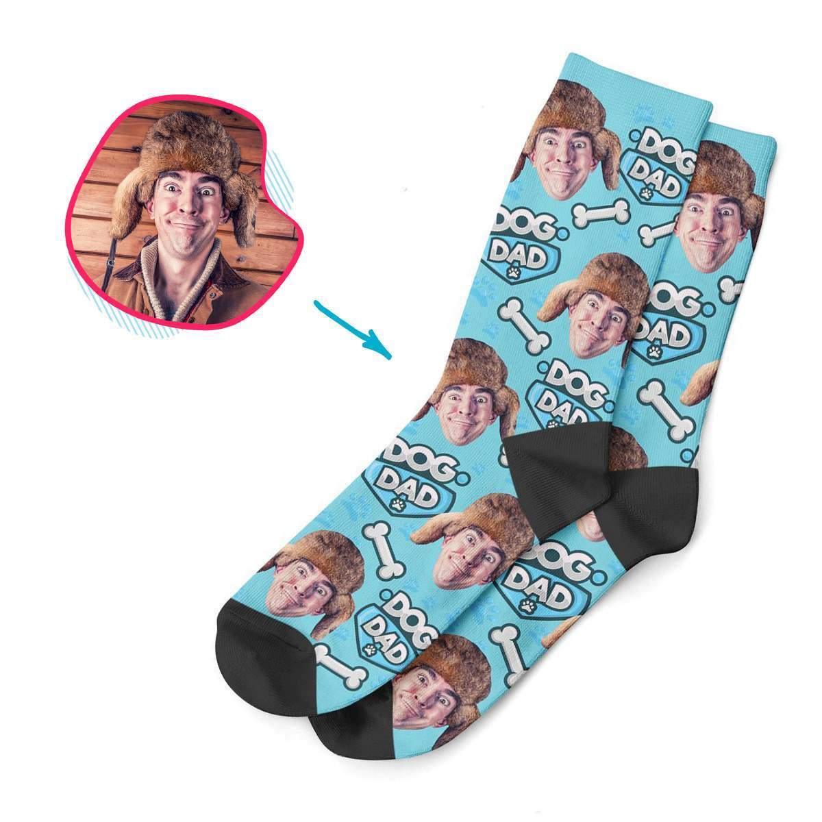blue Dog Dad socks personalized with photo of face printed on them