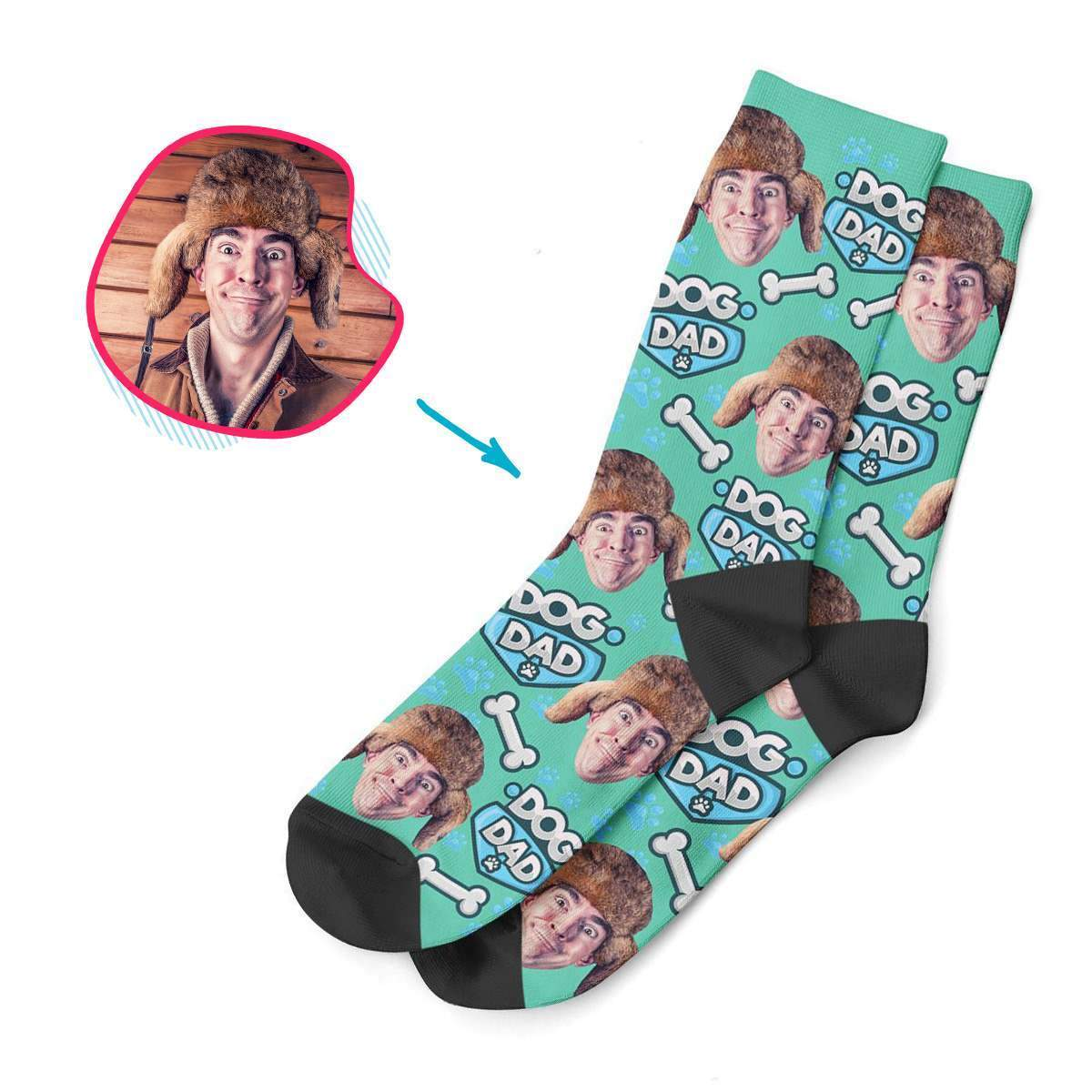 mint Dog Dad socks personalized with photo of face printed on them