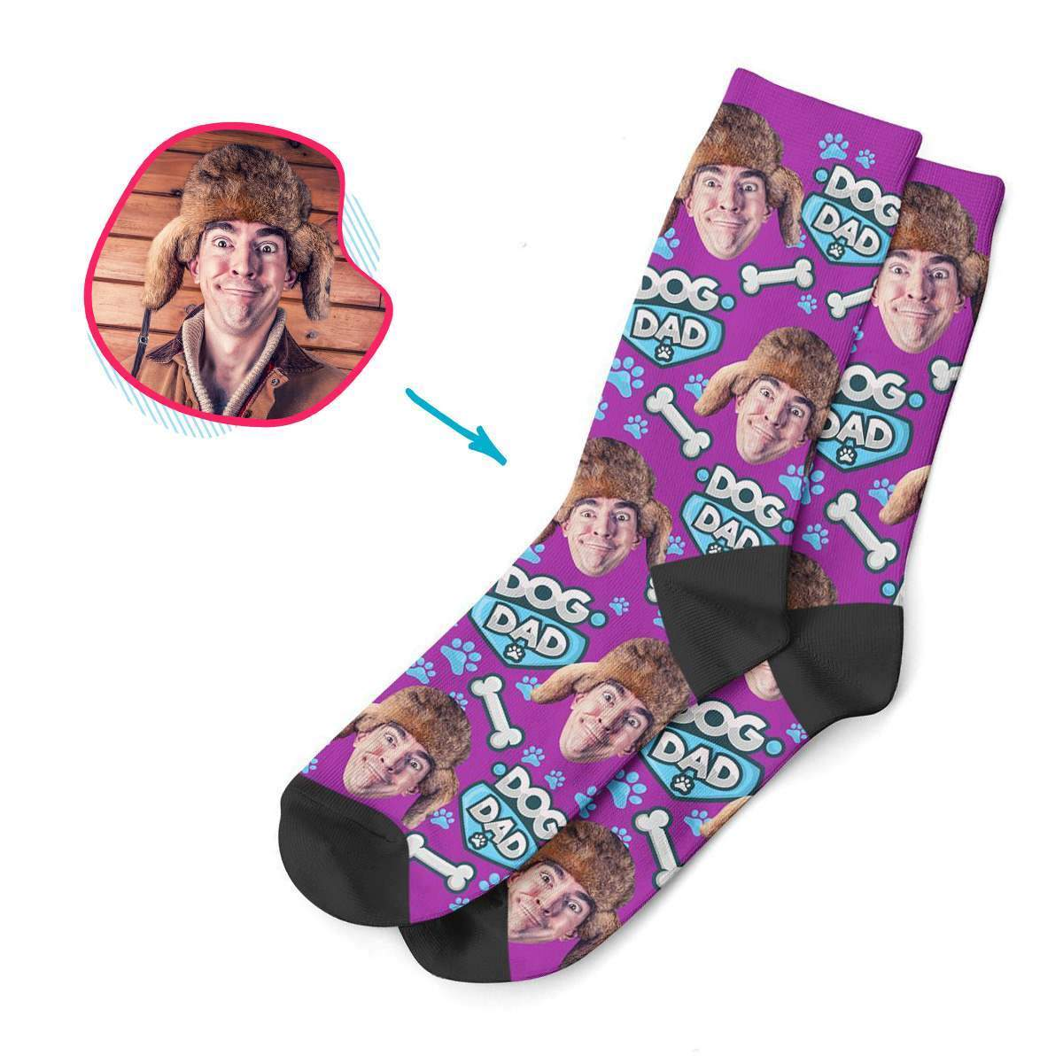 purple Dog Dad socks personalized with photo of face printed on them