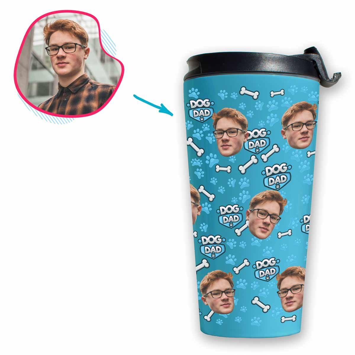 blue Dog Dad travel mug personalized with photo of face printed on it