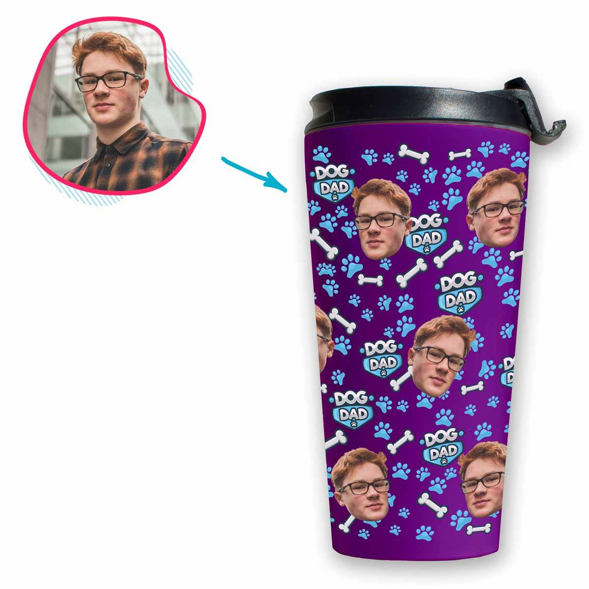 purple Dog Dad travel mug personalized with photo of face printed on it