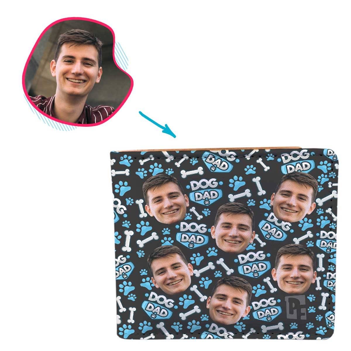 dark Dog Dad wallet personalized with photo of face printed on it