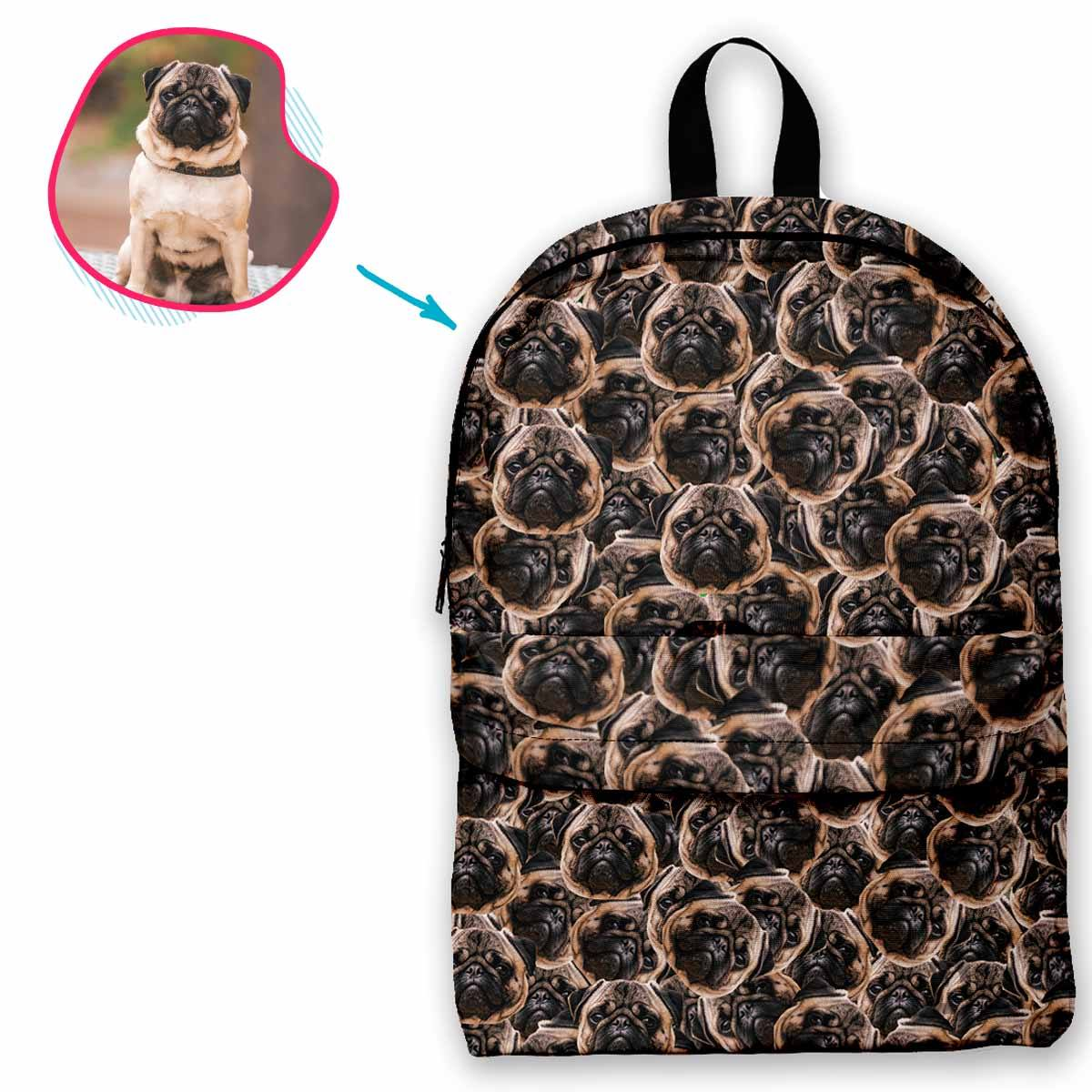dog mash classic backpack personalized with photo of face printed on it
