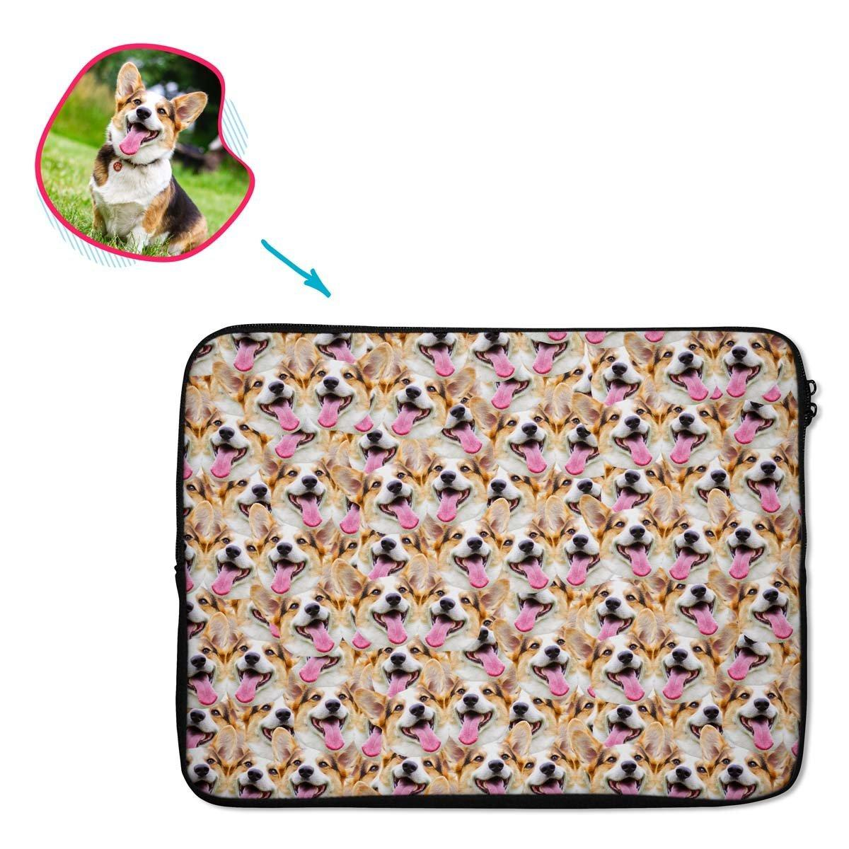 Dog Mash laptop sleeve personalized with photo of face printed on them