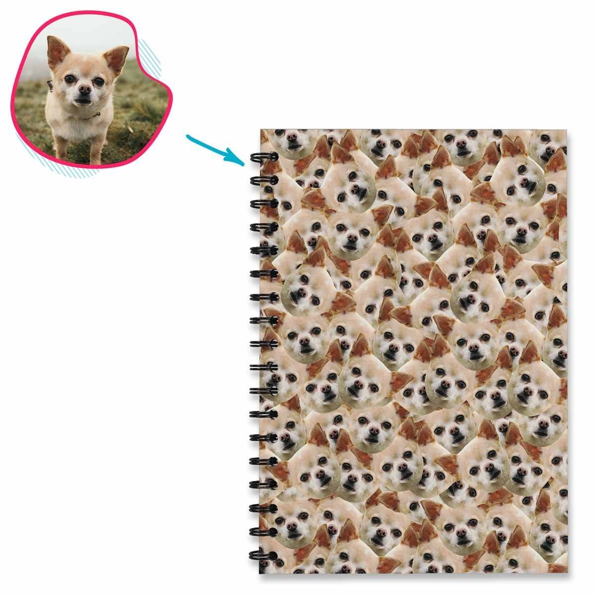Dog Mash Notebook personalized with photo of face printed on them