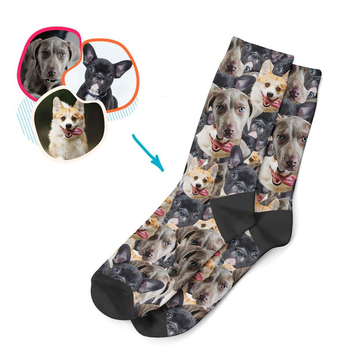 Dog Mash socks personalized with photo of face printed on them