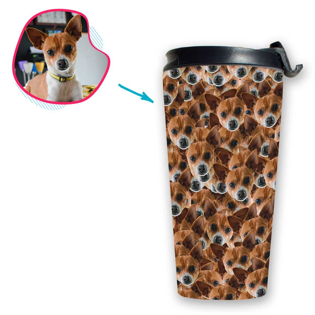 Dog Mash travel mug personalized with photo of face printed on it