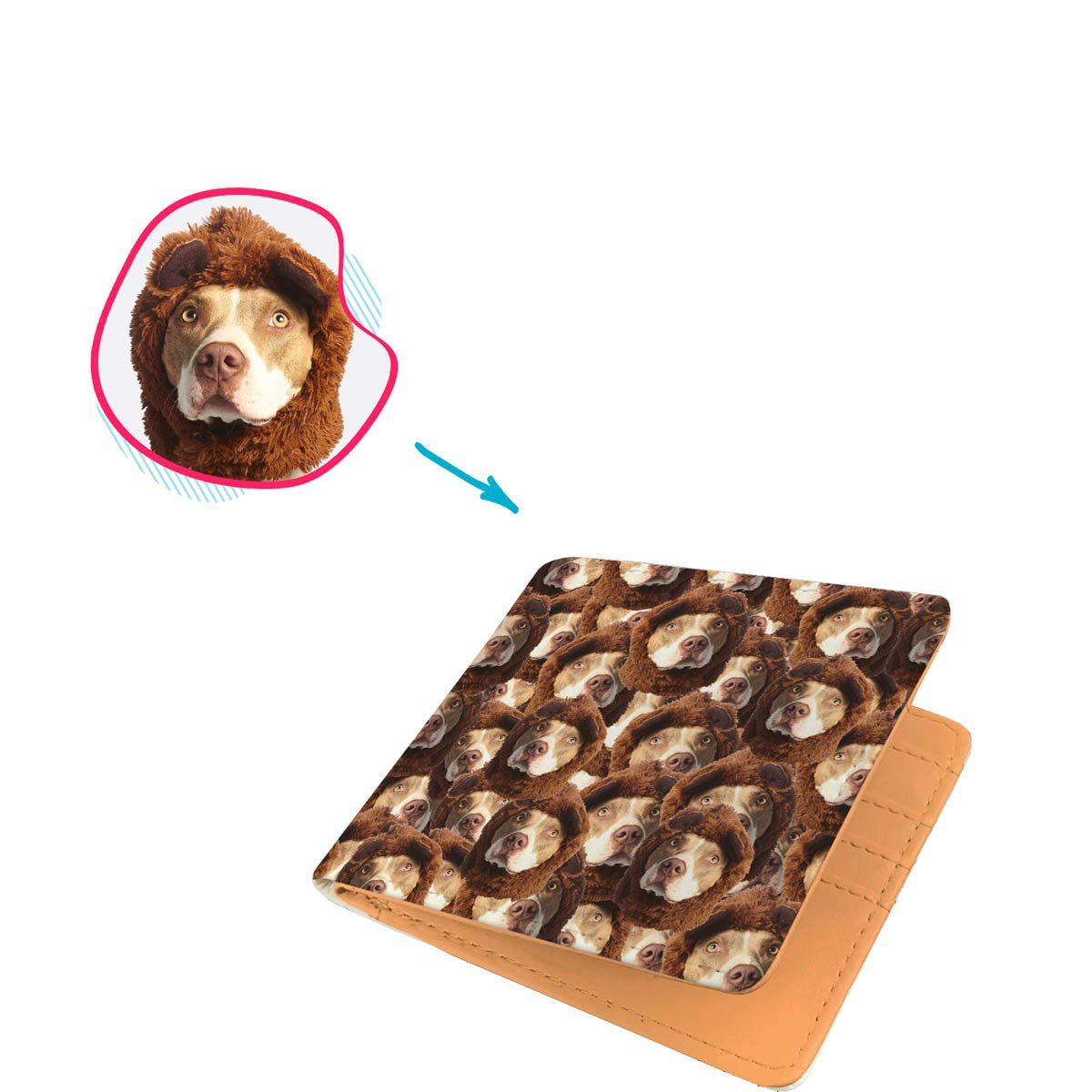 Dog Mash wallet personalized with photo of face printed on it