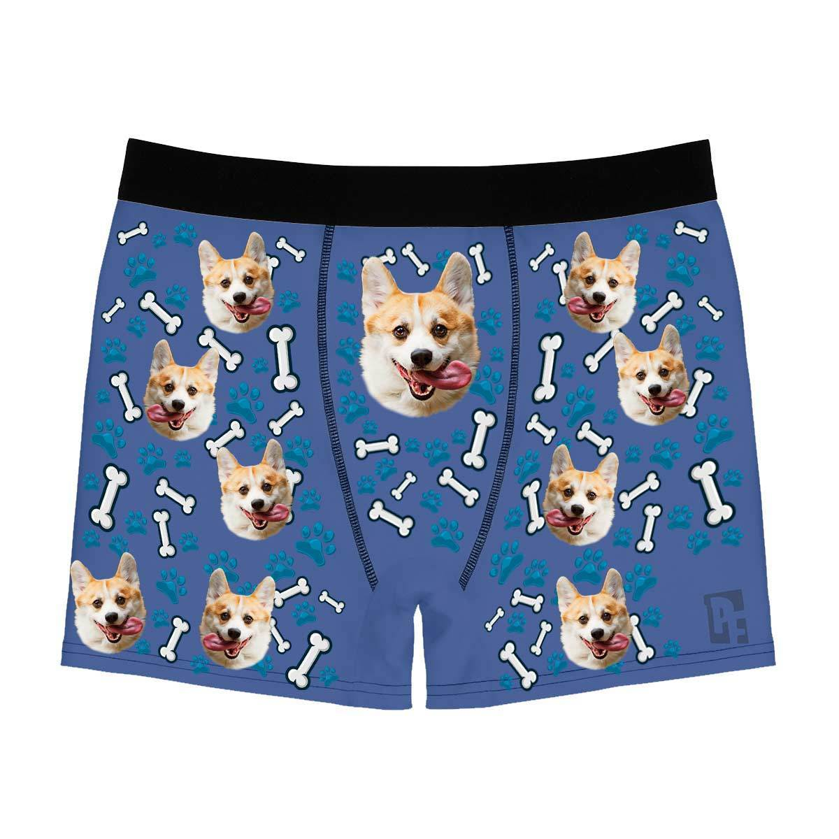 Darkblue Dog men's boxer briefs personalized with photo printed on them