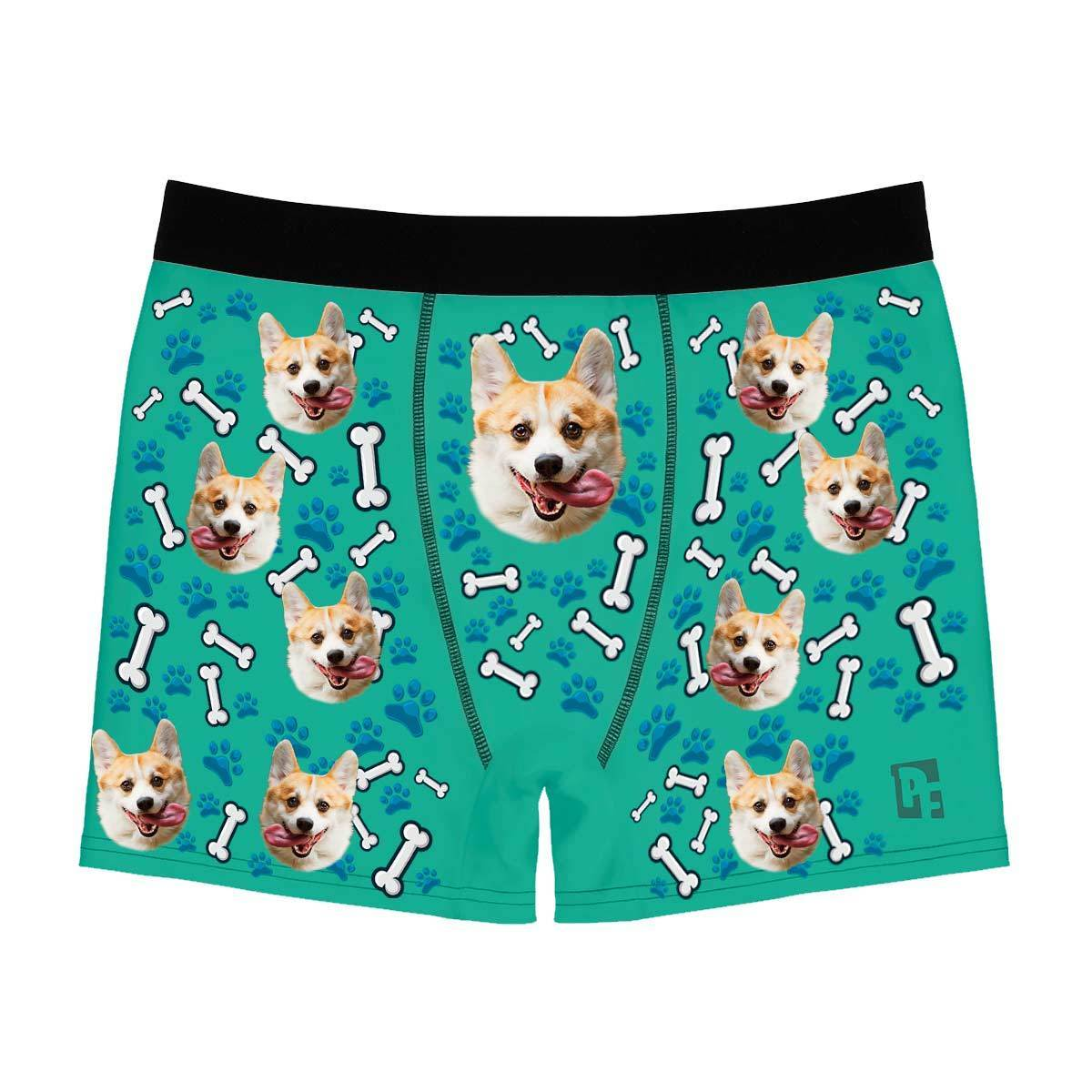 Mint Dog men's boxer briefs personalized with photo printed on them