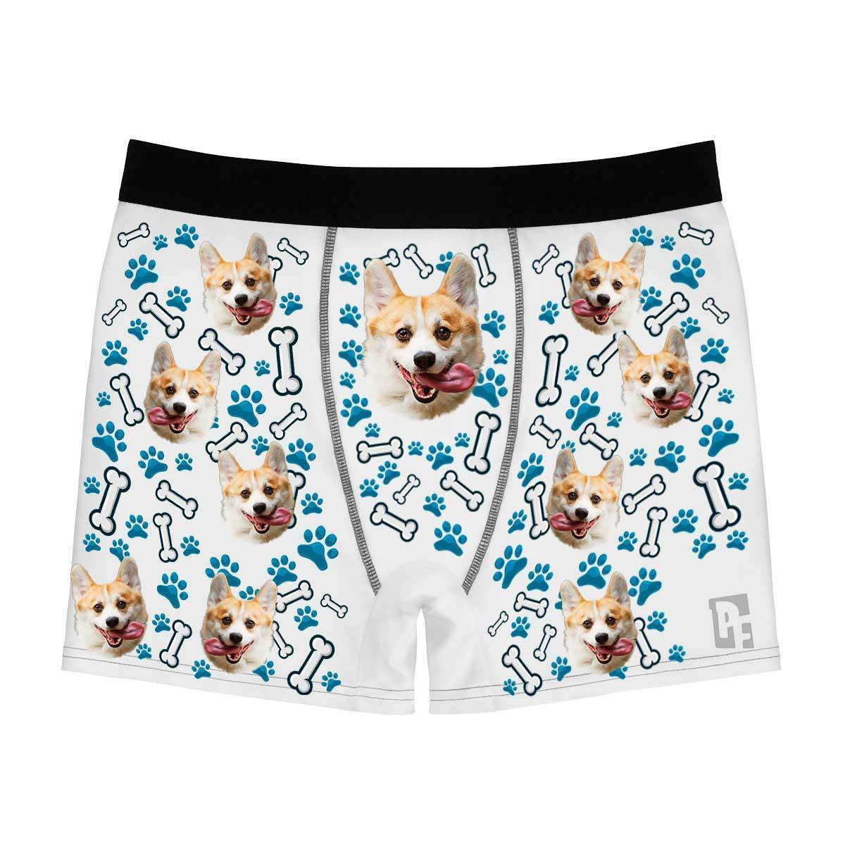 White Dog men's boxer briefs personalized with photo printed on them