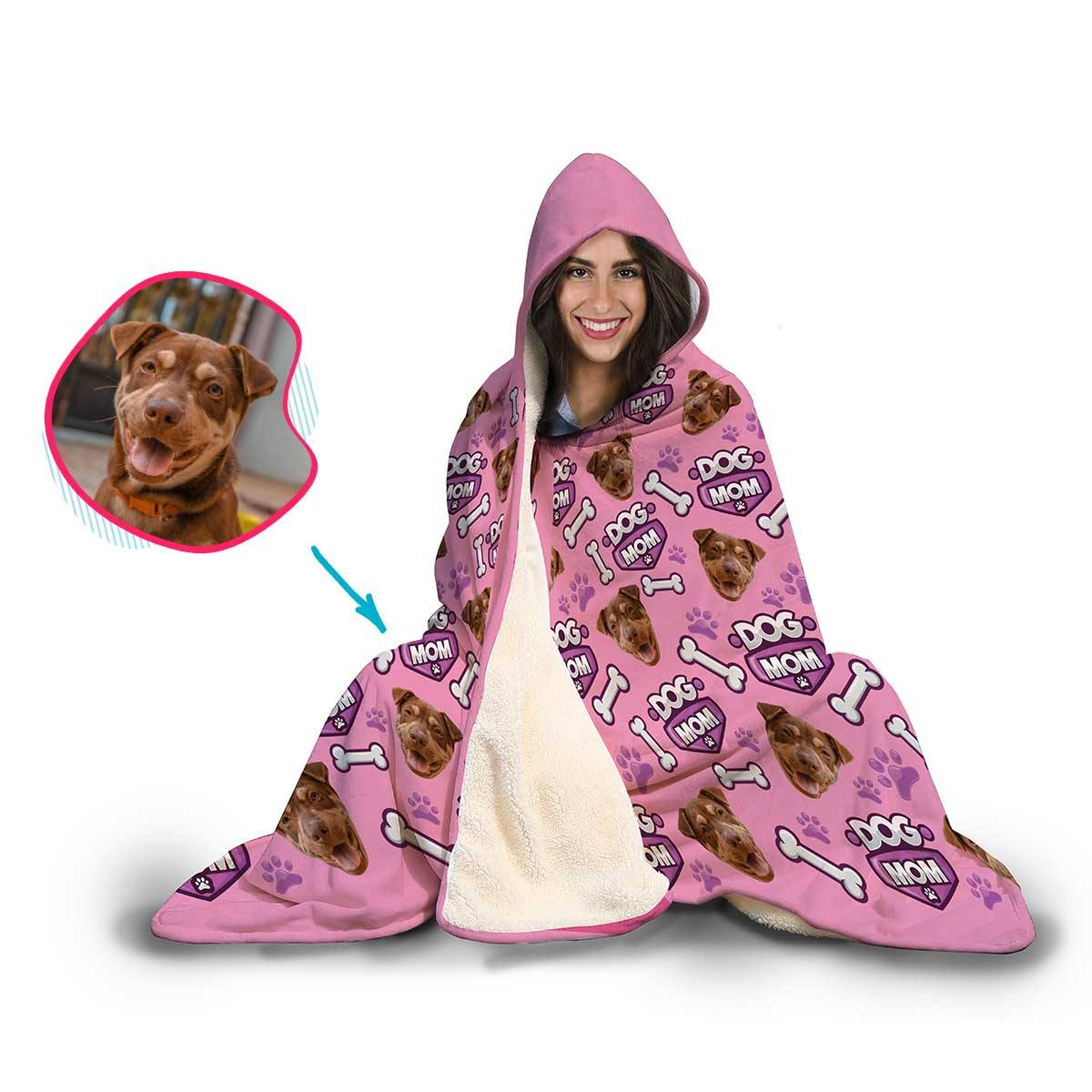 Dog Mom Personalized Hooded Blanket