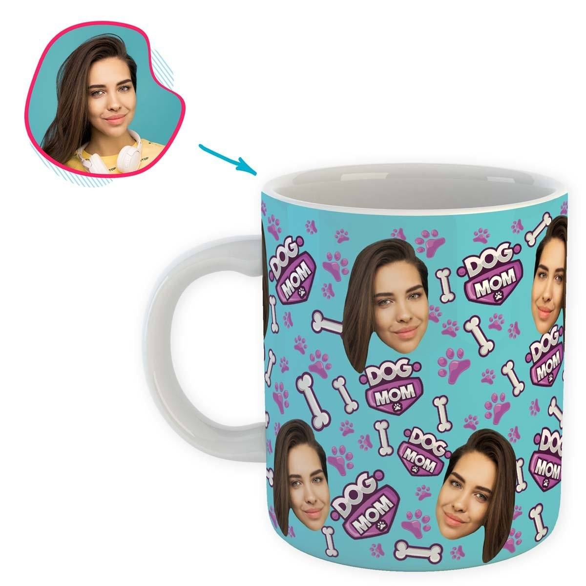 blue Dog Mom mug personalized with photo of face printed on it