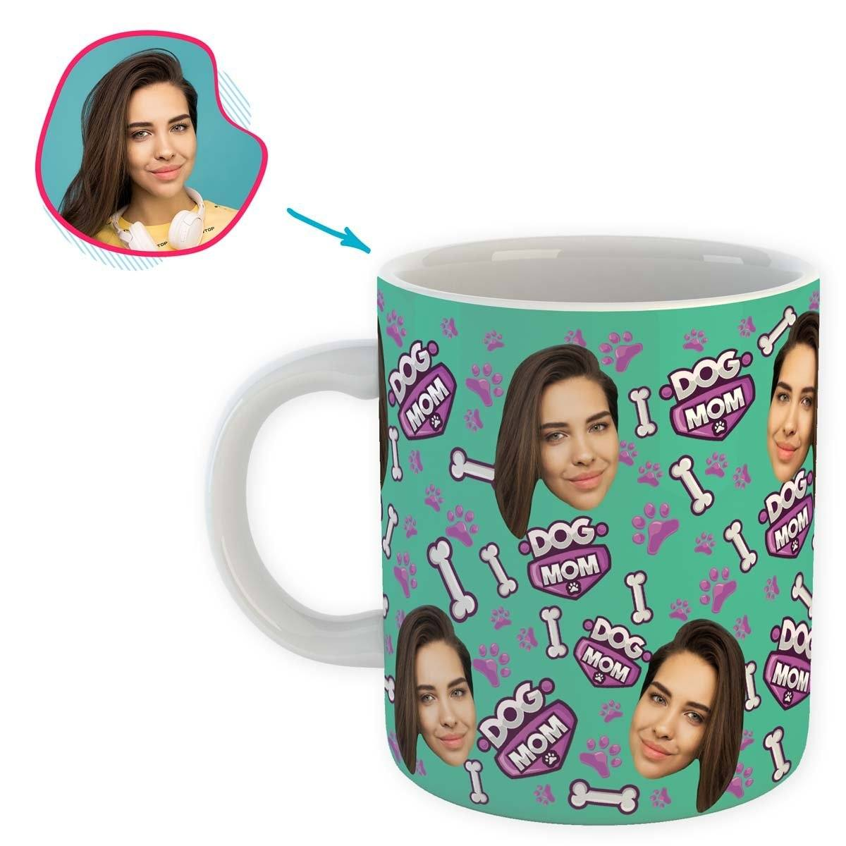 mint Dog Mom mug personalized with photo of face printed on it