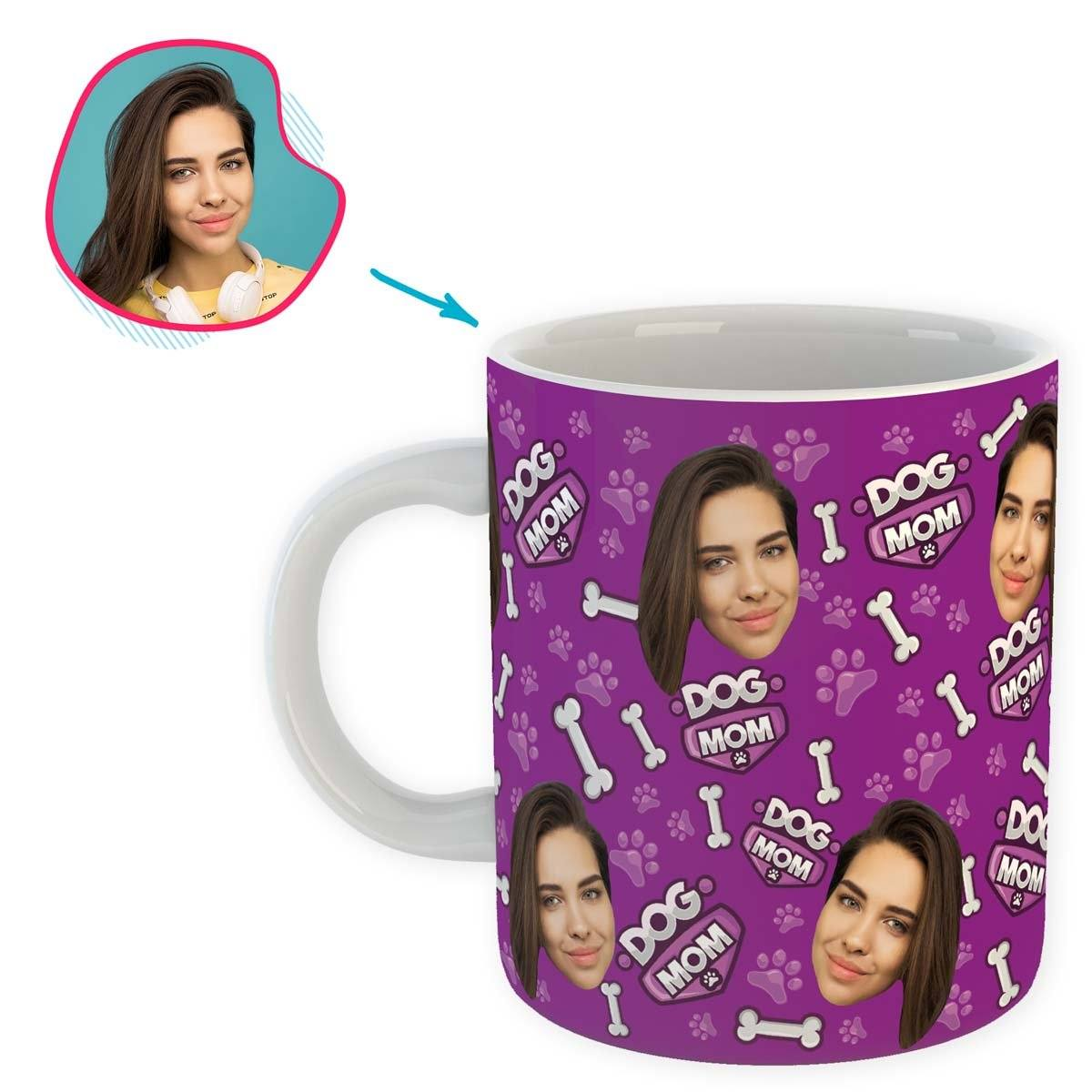 purple Dog Mom mug personalized with photo of face printed on it