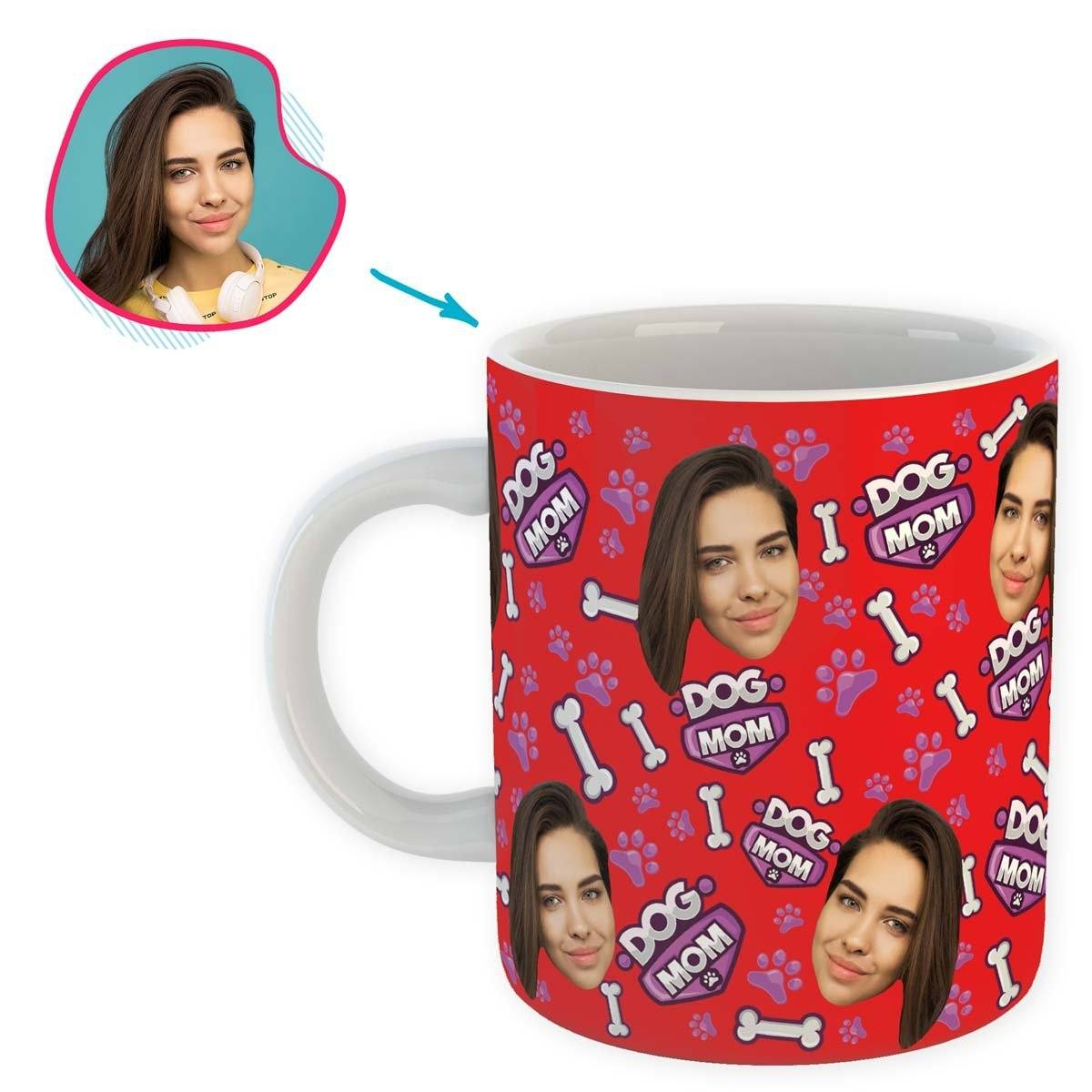 red Dog Mom mug personalized with photo of face printed on it