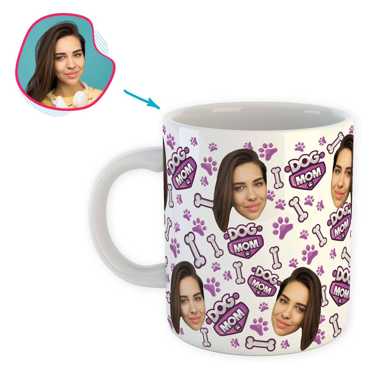 white Dog Mom mug personalized with photo of face printed on it