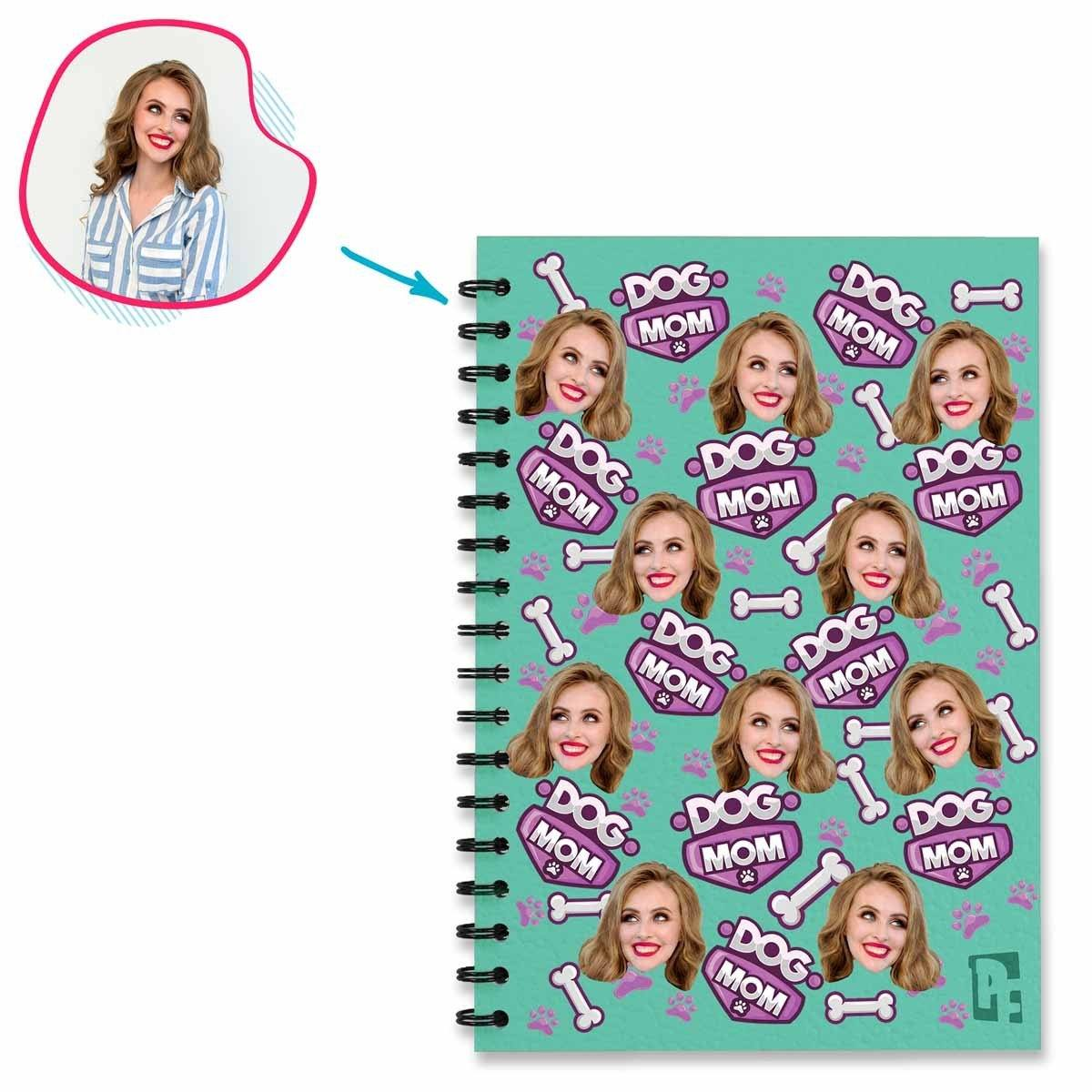 mint Dog Mom Notebook personalized with photo of face printed on them