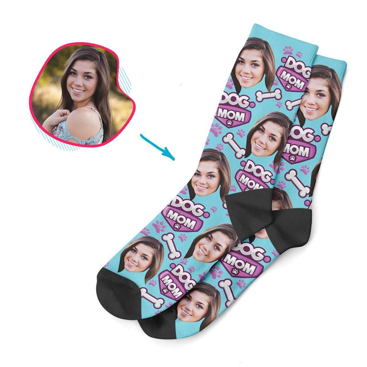blue Dog Mom socks personalized with photo of face printed on them