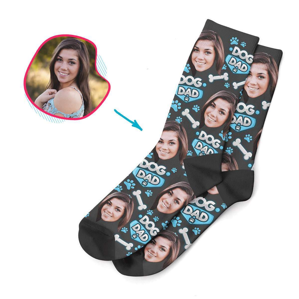 dark Dog Mom socks personalized with photo of face printed on them