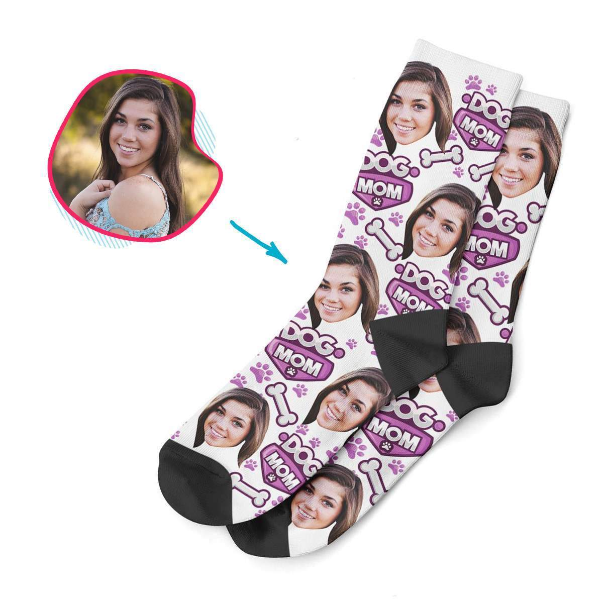 white Dog Mom socks personalized with photo of face printed on them