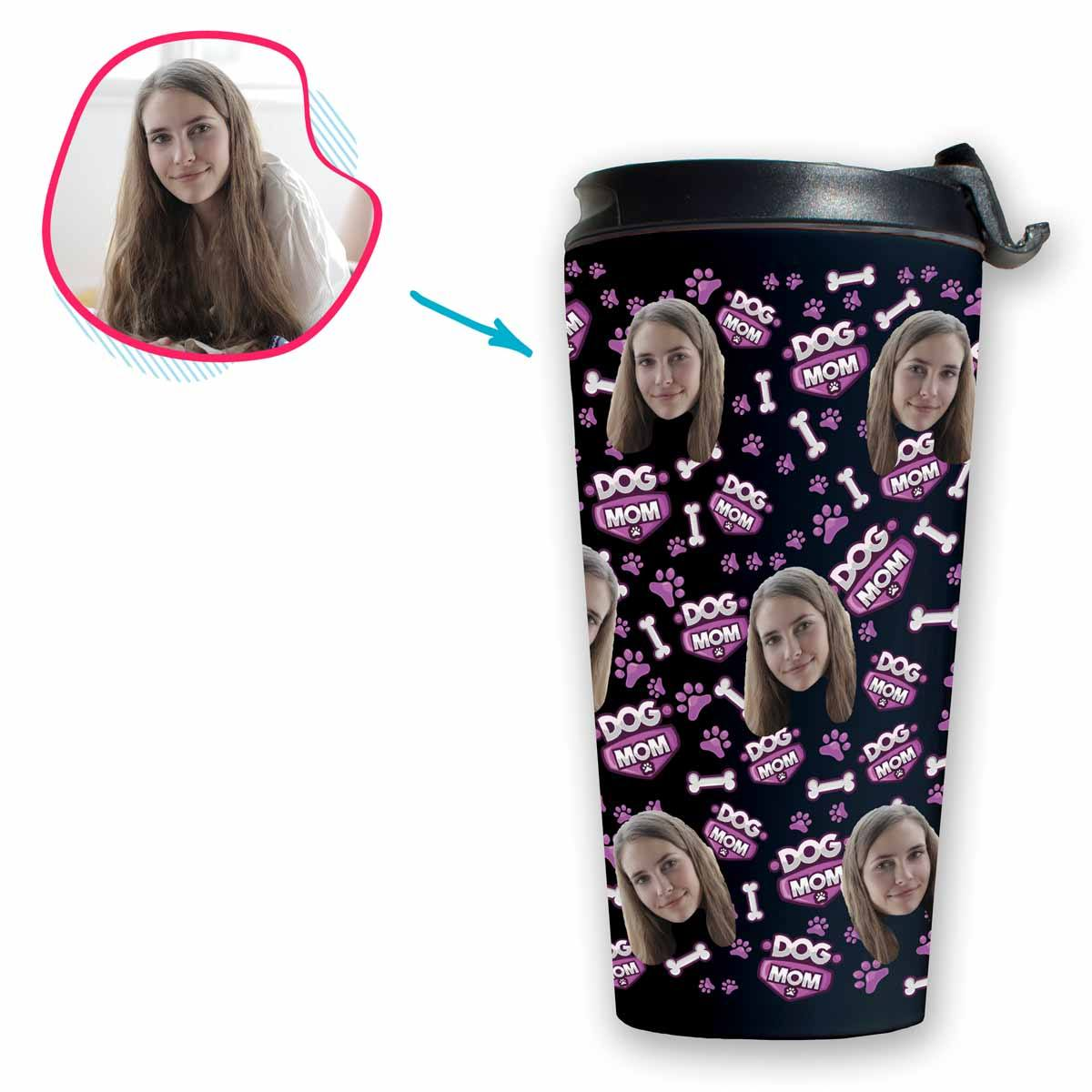 dark Dog Mom travel mug personalized with photo of face printed on it
