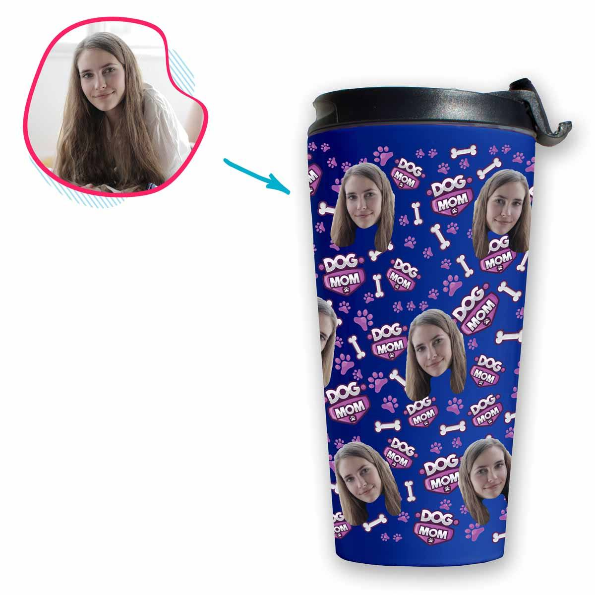 darkblue Dog Mom travel mug personalized with photo of face printed on it