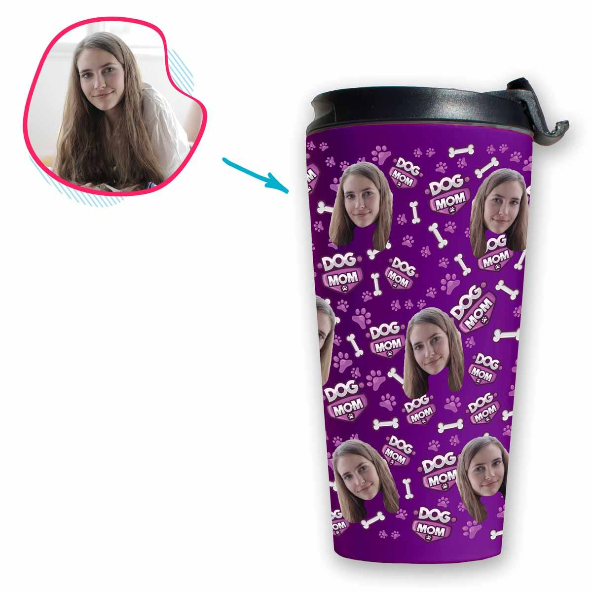 purple Dog Mom travel mug personalized with photo of face printed on it