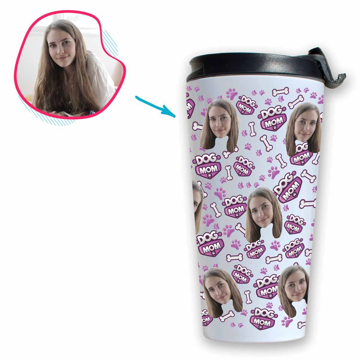 white Dog Mom travel mug personalized with photo of face printed on it