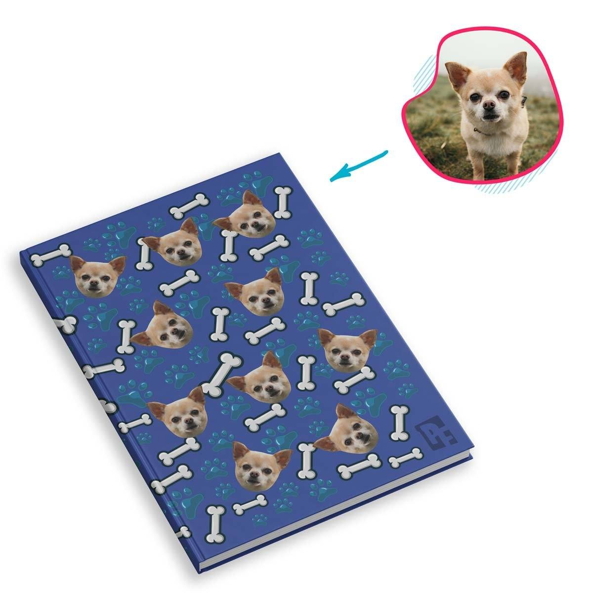 darkblue Dog Notebook personalized with photo of face printed on them