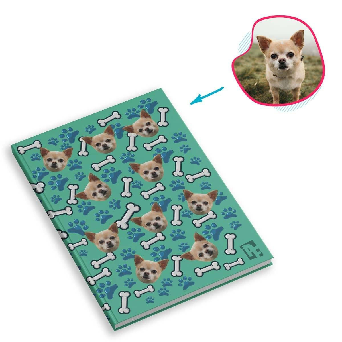 mint Dog Notebook personalized with photo of face printed on them