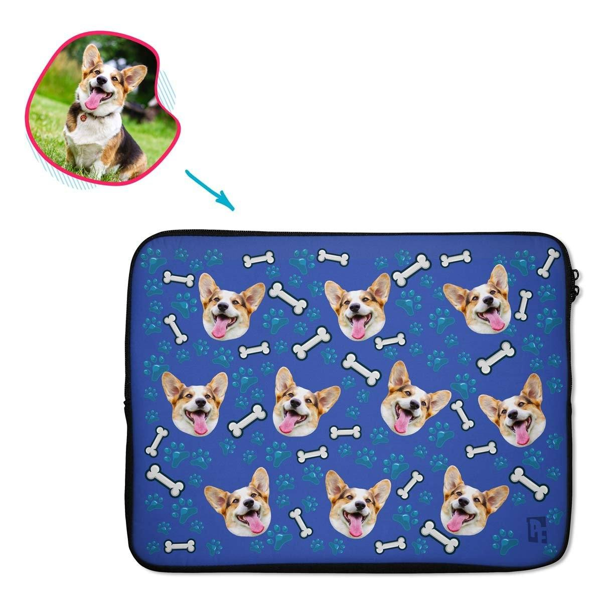 darkblue Dog laptop sleeve personalized with photo of face printed on them