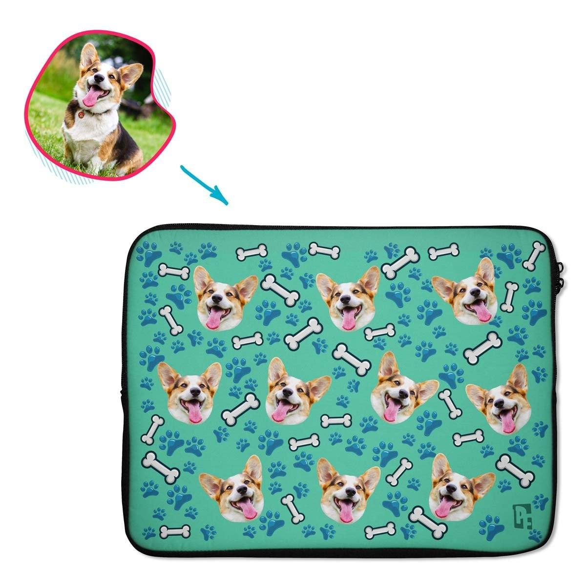 mint Dog laptop sleeve personalized with photo of face printed on them
