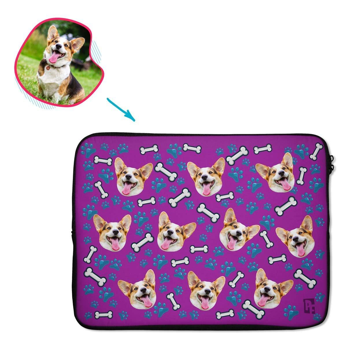 purple Dog laptop sleeve personalized with photo of face printed on them