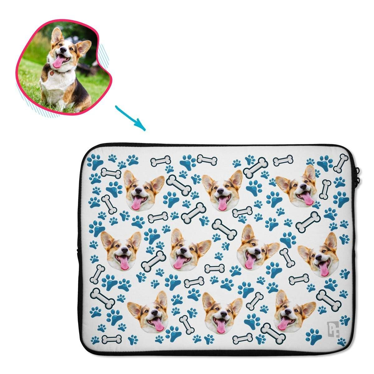 white Dog laptop sleeve personalized with photo of face printed on them