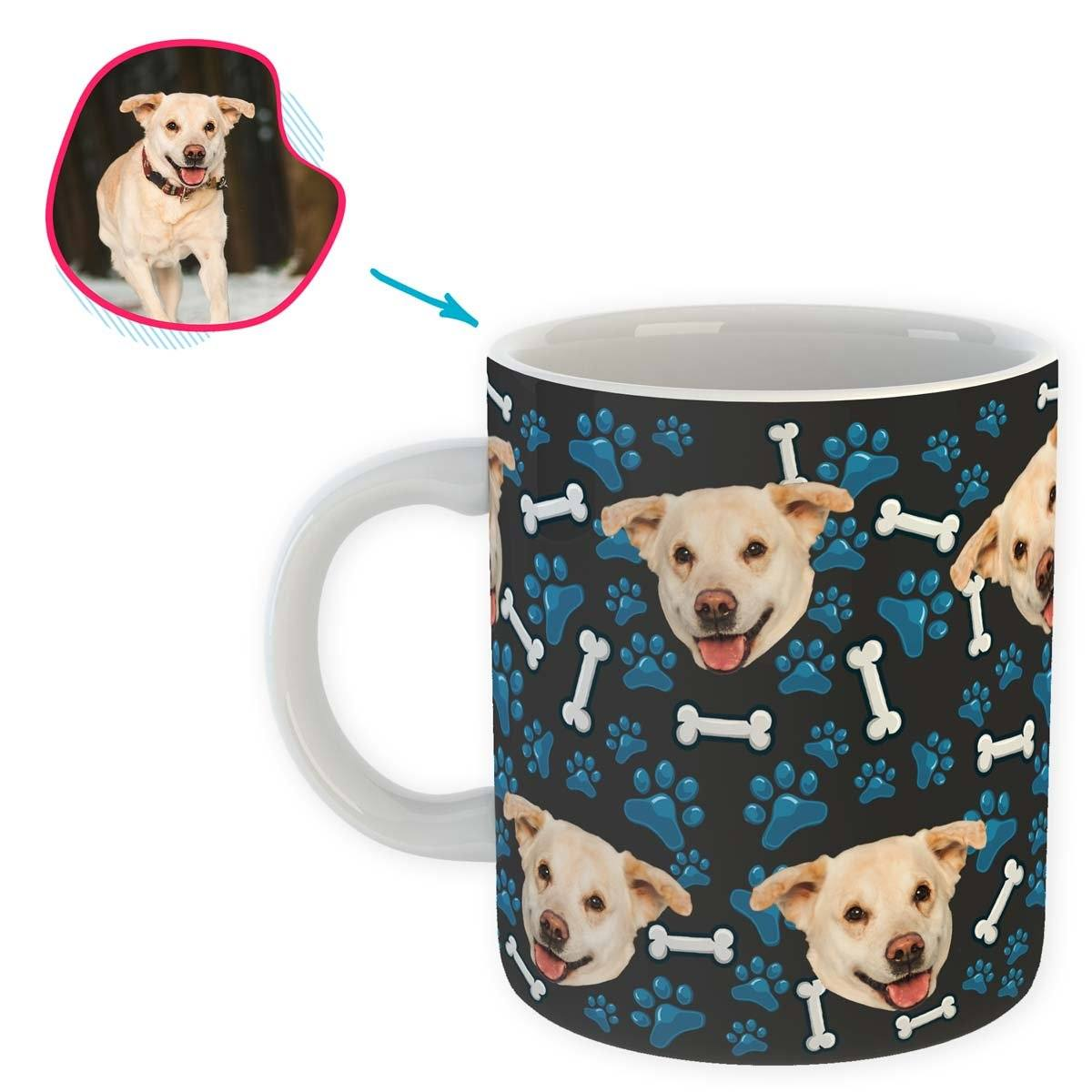 dark Dog mug personalized with photo of face printed on it