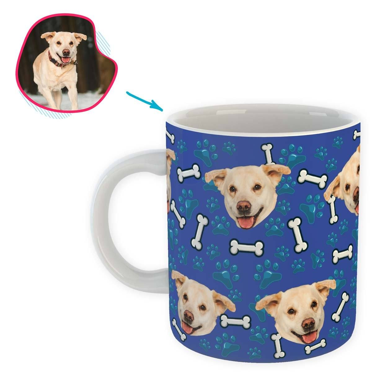 darkblue Dog mug personalized with photo of face printed on it