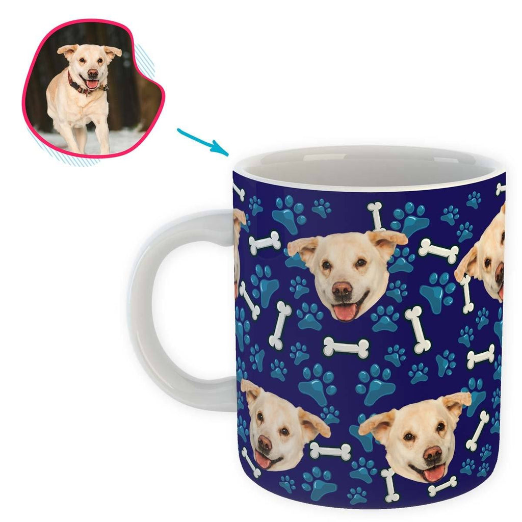 navy Dog mug personalized with photo of face printed on it