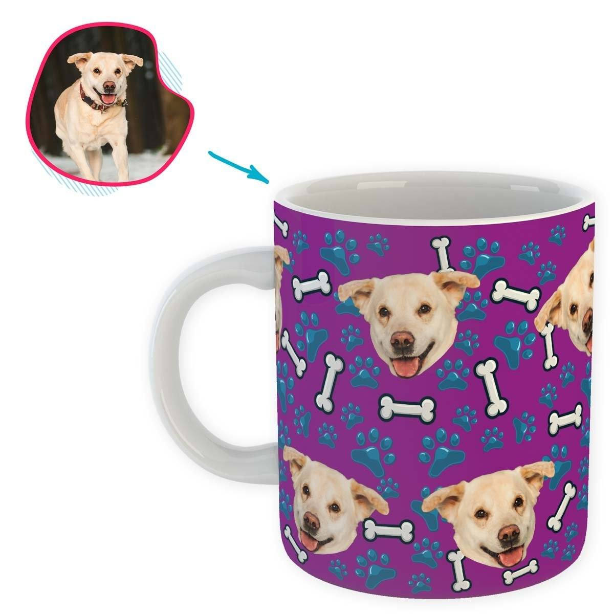 purple Dog mug personalized with photo of face printed on it