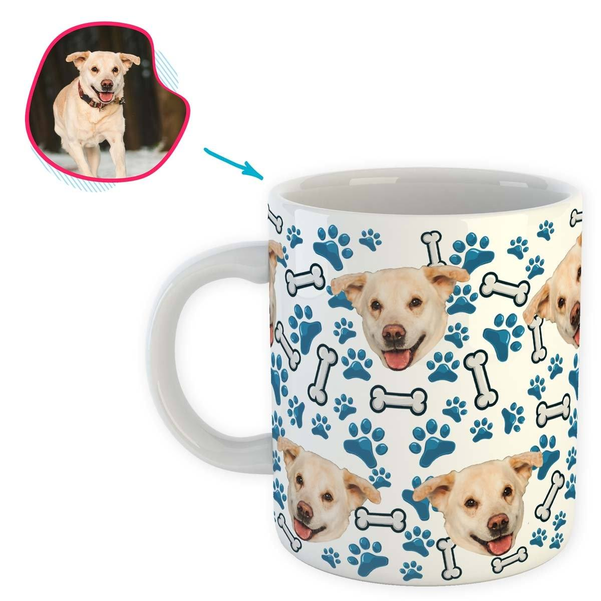 white Dog mug personalized with photo of face printed on it