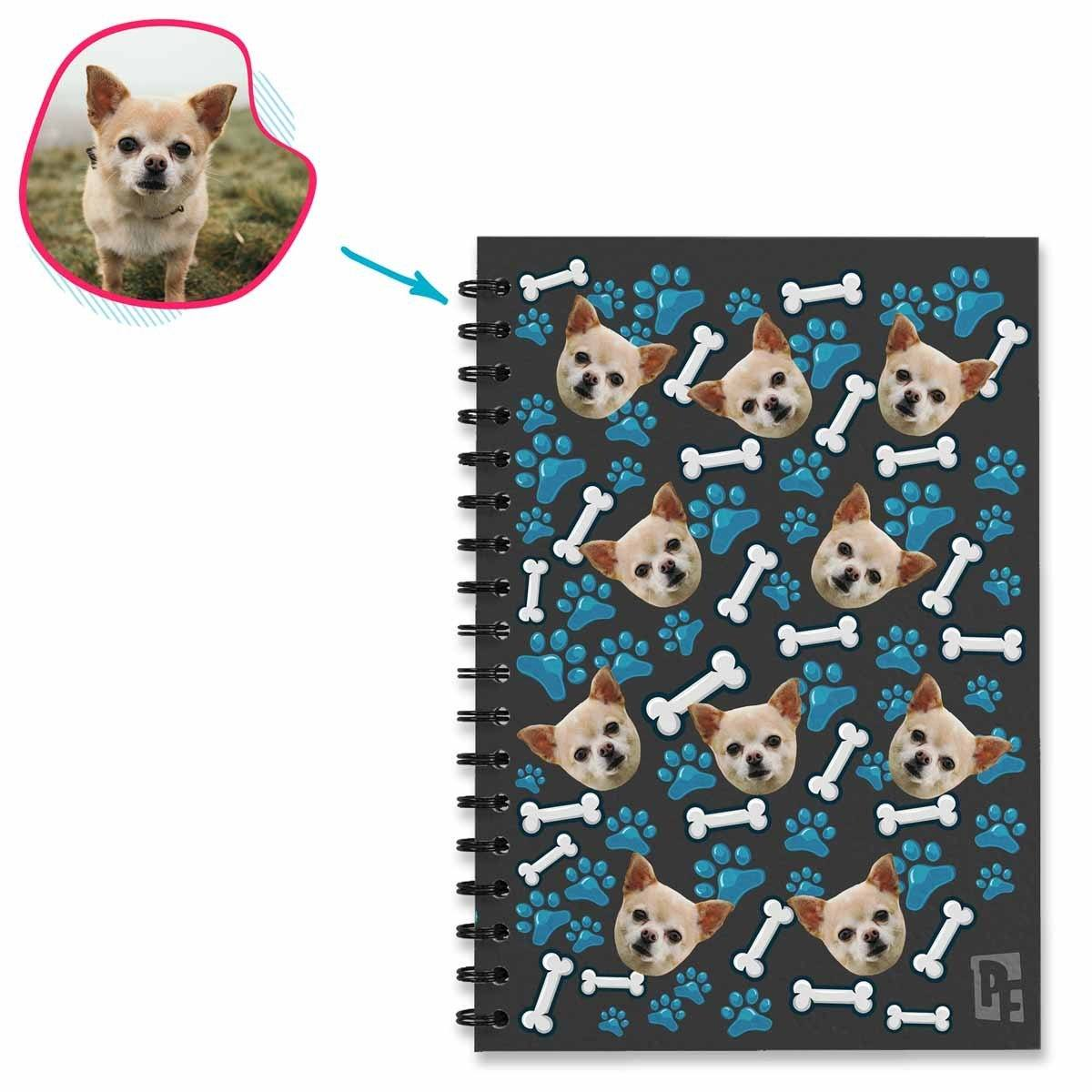 dark Dog Notebook personalized with photo of face printed on them
