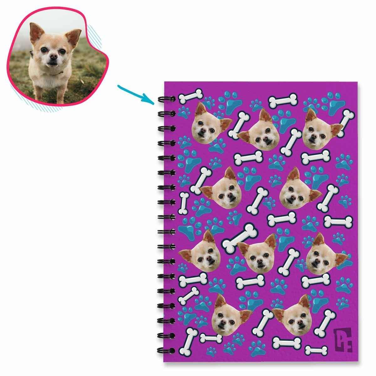 purple Dog Notebook personalized with photo of face printed on them