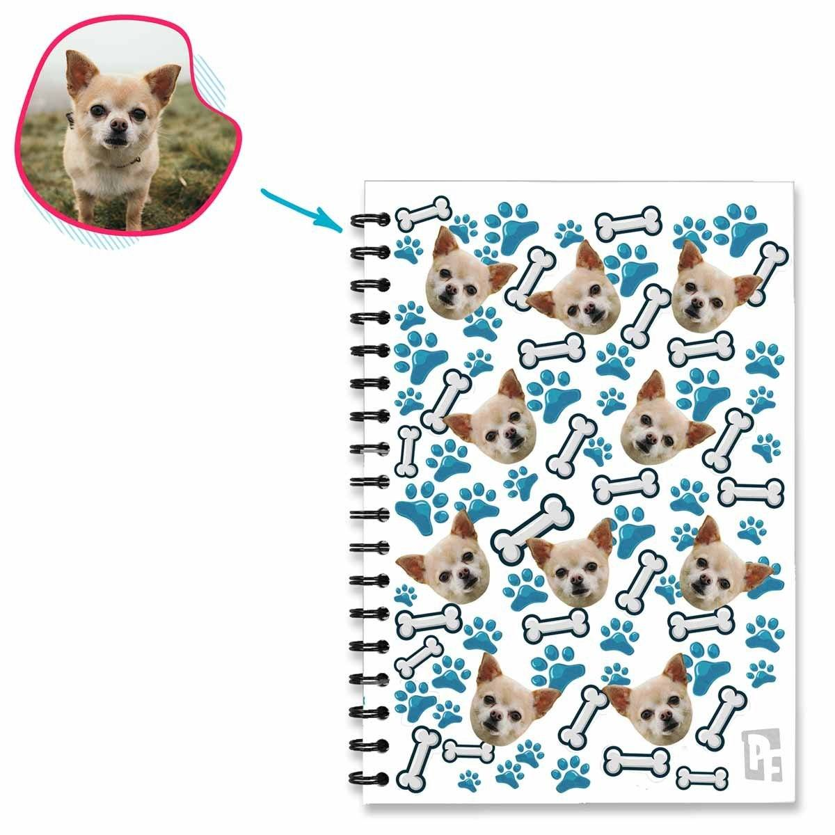 white Dog Notebook personalized with photo of face printed on them