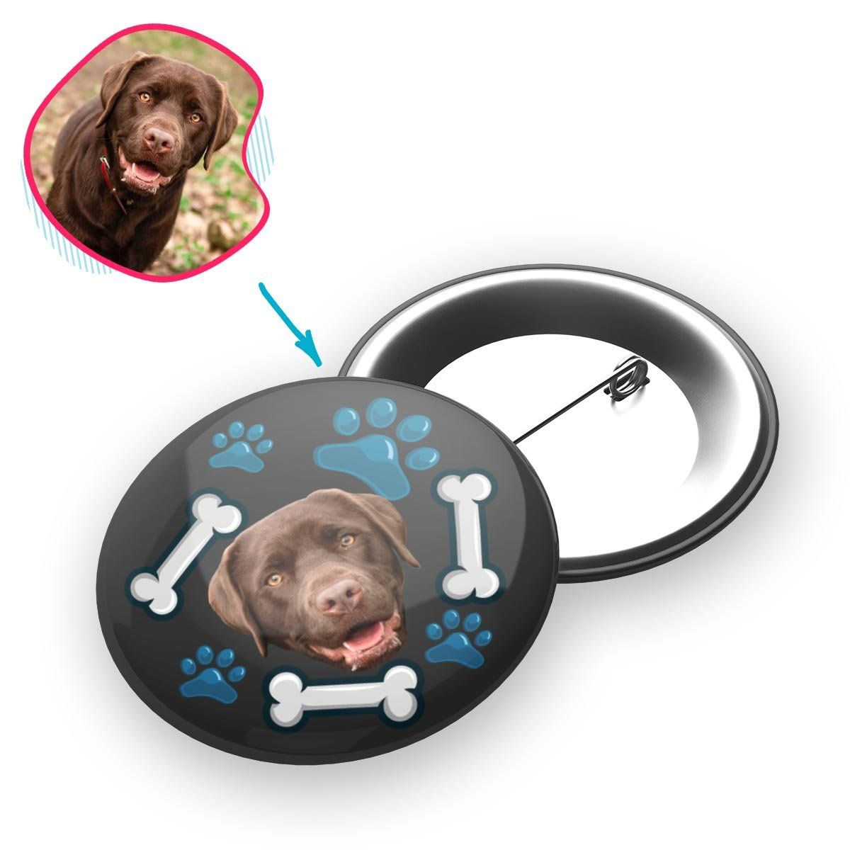 dark Dog pin personalized with photo of face printed on it